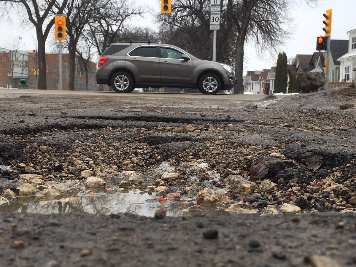 The springtime nemesis of Winnipeg drivers: potholes.