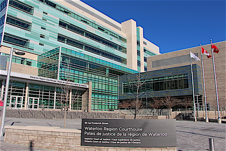 The Waterloo Region Courthouse in downtown Kitchener.