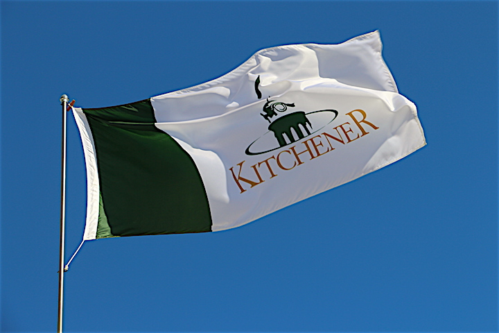 The City of Kitchener flag outside of city hall.