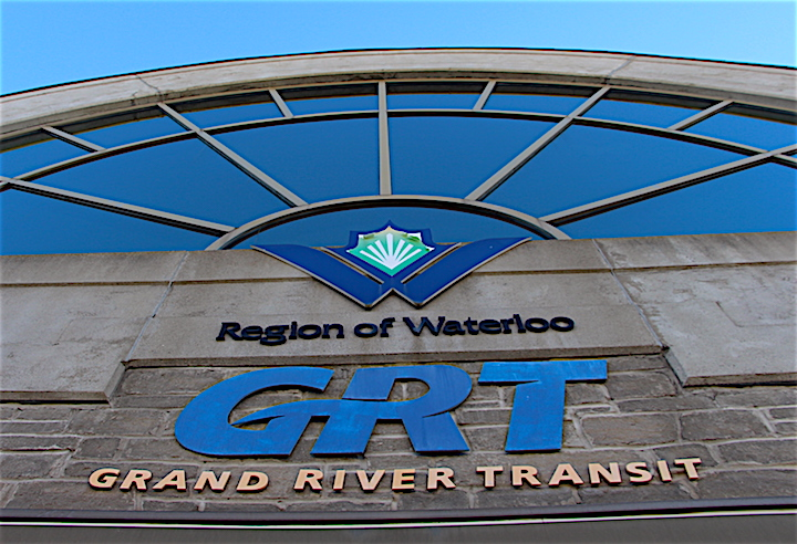 The main entrance to Grand River Transit's Charles Street Transit Terminal in Kitchener.