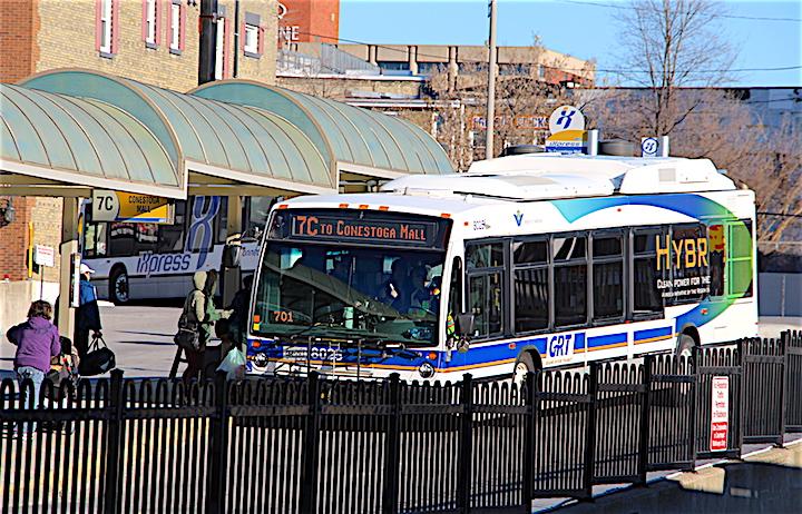 A Grand River Transit bus at the Charles Street Transit Terminal in Kitchener.