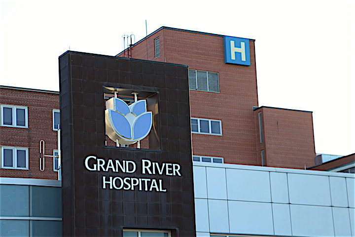 The main entrance at the Grand River Hospital in Kitchener.
