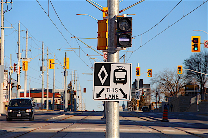 The Grand River Transit's ION LRT section of rail on King Street West near Grand River Hospital in Kitchener.