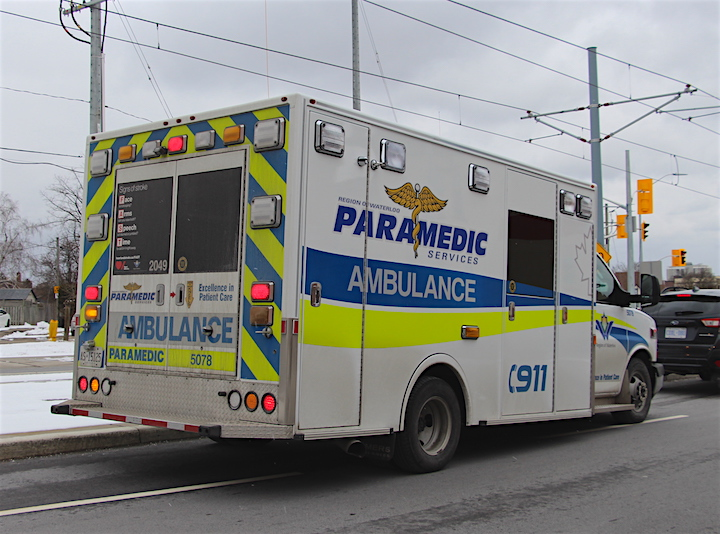 A Region of Waterloo Paramedic Services ambulance in Kitchener.