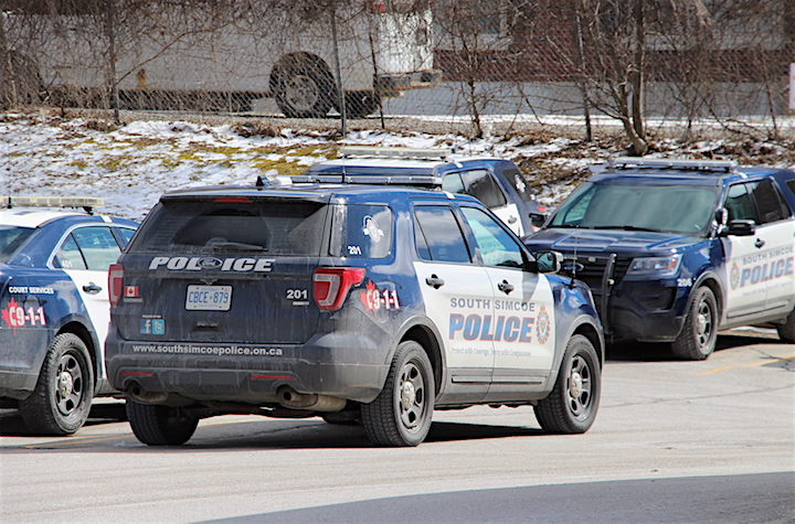 South Simcoe Police cruisers outside of the service's station in Bradford.