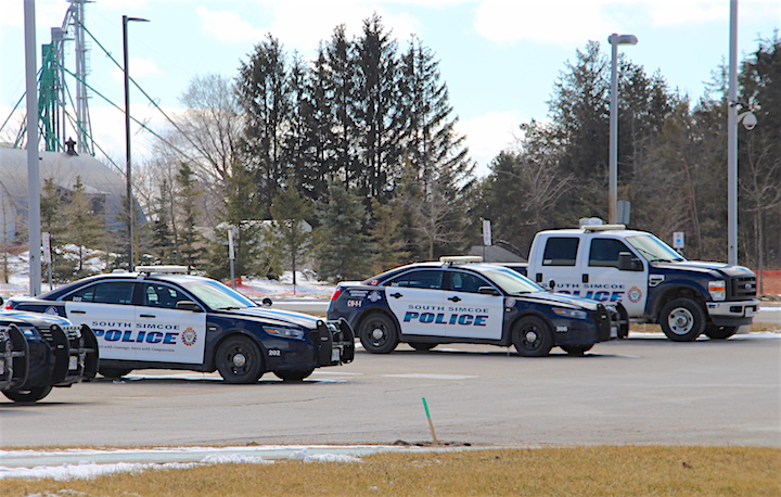 Police are investigating after a vehicle was located on fire in Innisfil.