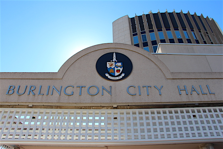The front entrance of Burlington City Hall.