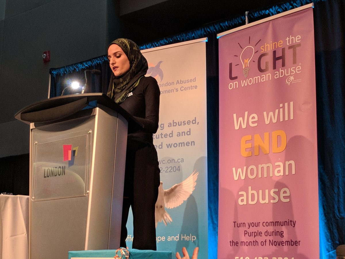 Najwa Zebian speaking at the 18th annual International Women's Day Breakfast.