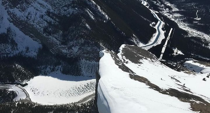 This photo was taken during avalanche control on East End of Rundle mountain last Wednesday.