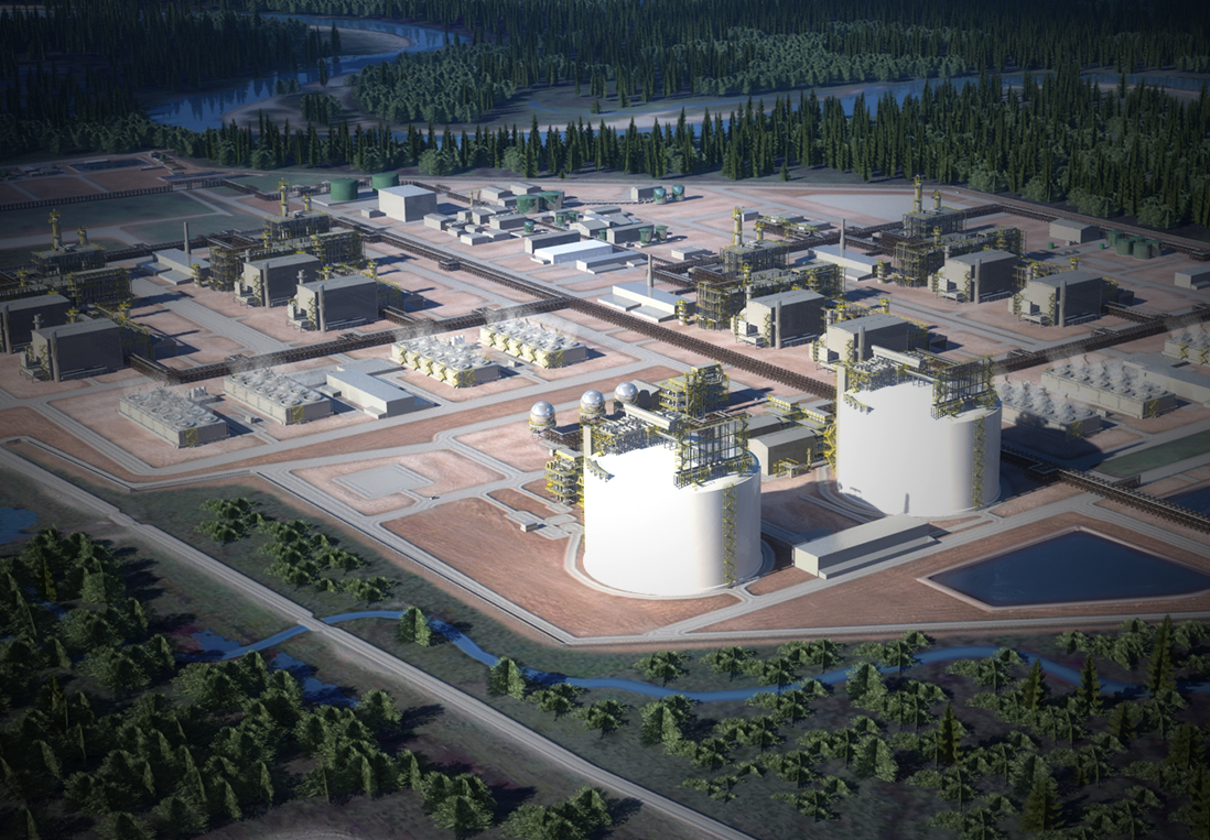 An artist's rendering of the LNG Canada project set to be built in Kitimat.