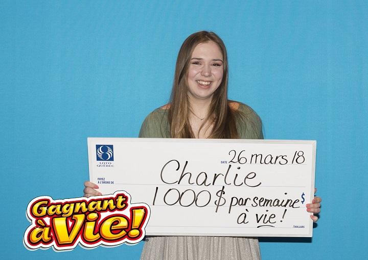 Charlie Lagarde, 18, has won $1,000 per week for life.