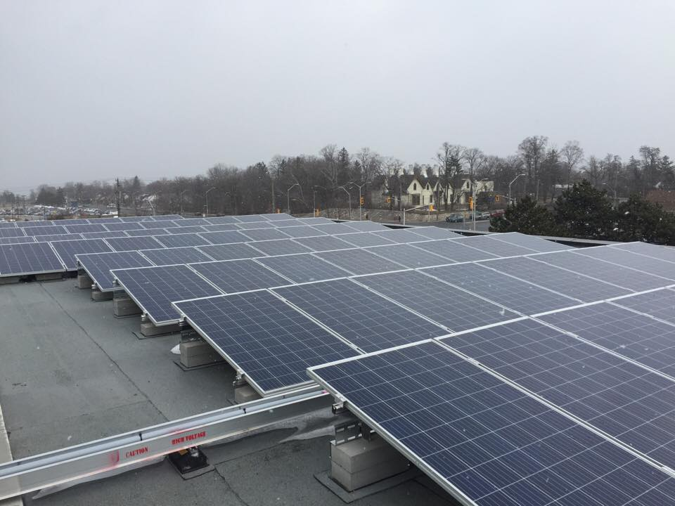 Solar panels on the roof of the J-Wing at the Mohawk College Fennell campus.