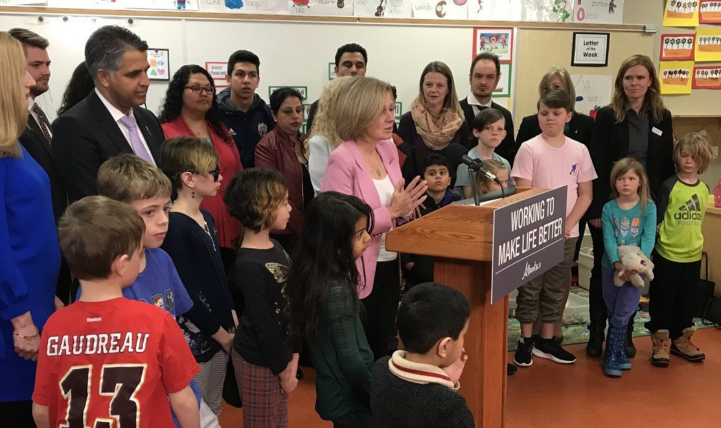Alberta Premier Rachel Notley announced three new schools for Calgary, and design funding for two others at a N.E. school Mar 23, 2018.