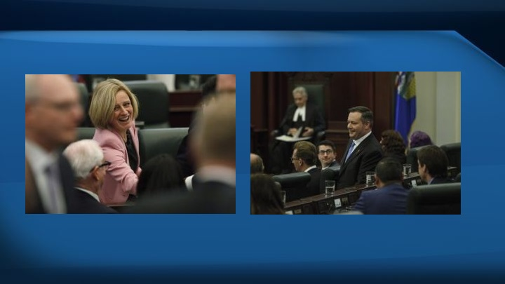 Rachel Notley photo from March 8, 2018 (left) and Jason Kenney photo from March 8, 2018 (right).