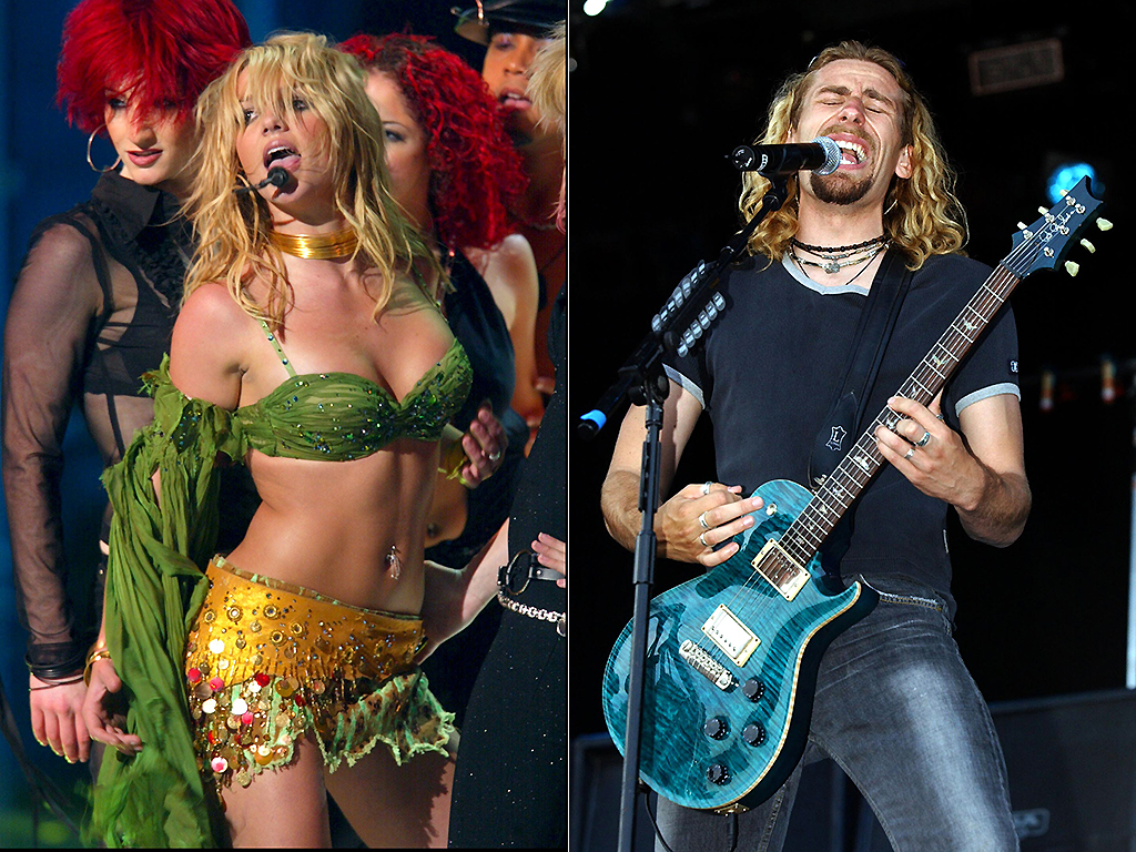 Britney Spears onstage (L) and Nickelback performing in 2002.