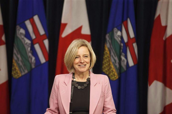 Alberta Premier Rachel Notley speaks to media before the Speech from the Throne, in Edmonton on March 8, 2018.
