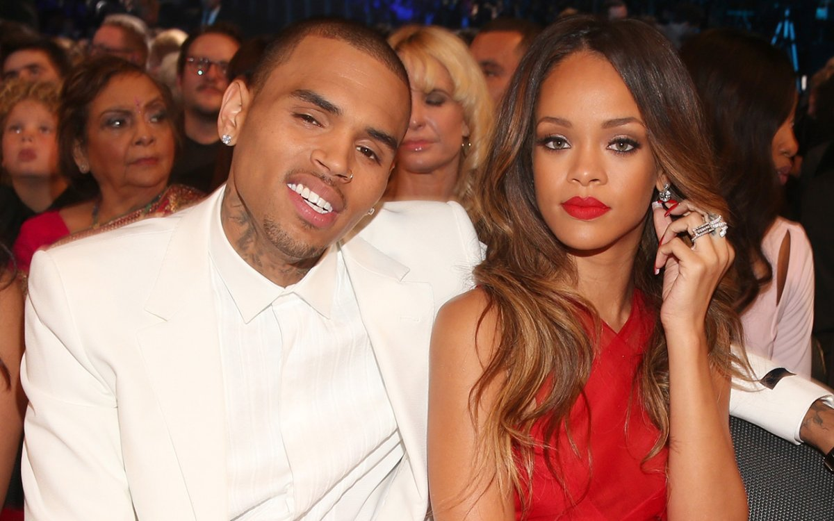 Singers Chris Brown (L) and Rihanna attend the 55th Annual GRAMMY Awards at STAPLES Center on Feb. 10, 2013 in Los Angeles, California.