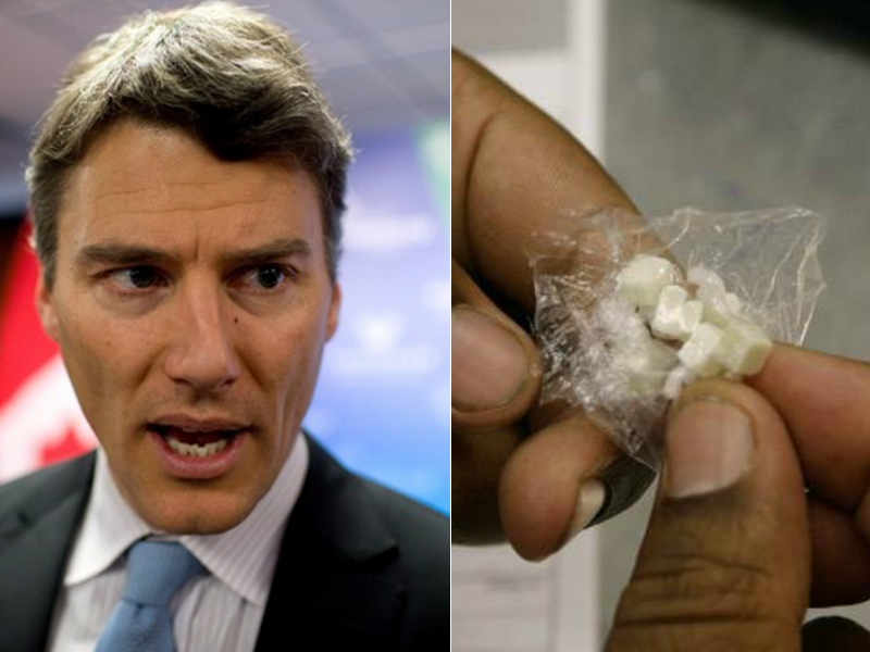 At left, Vancouver Mayor Gregor Robertson. At right, drugs in a baggie.