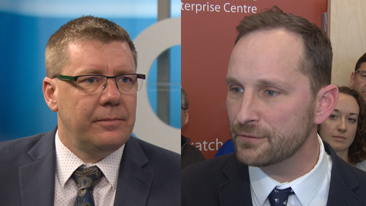 Premier Scott Moe(left) and the Saskatchewan Party have a poll lead over Opposition Leader Ryan Meili (right) and the NDP.