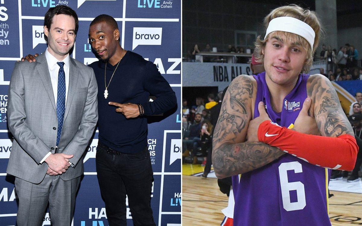 (L-R): Bill Hader, Jay Pharoah and Justin Bieber.