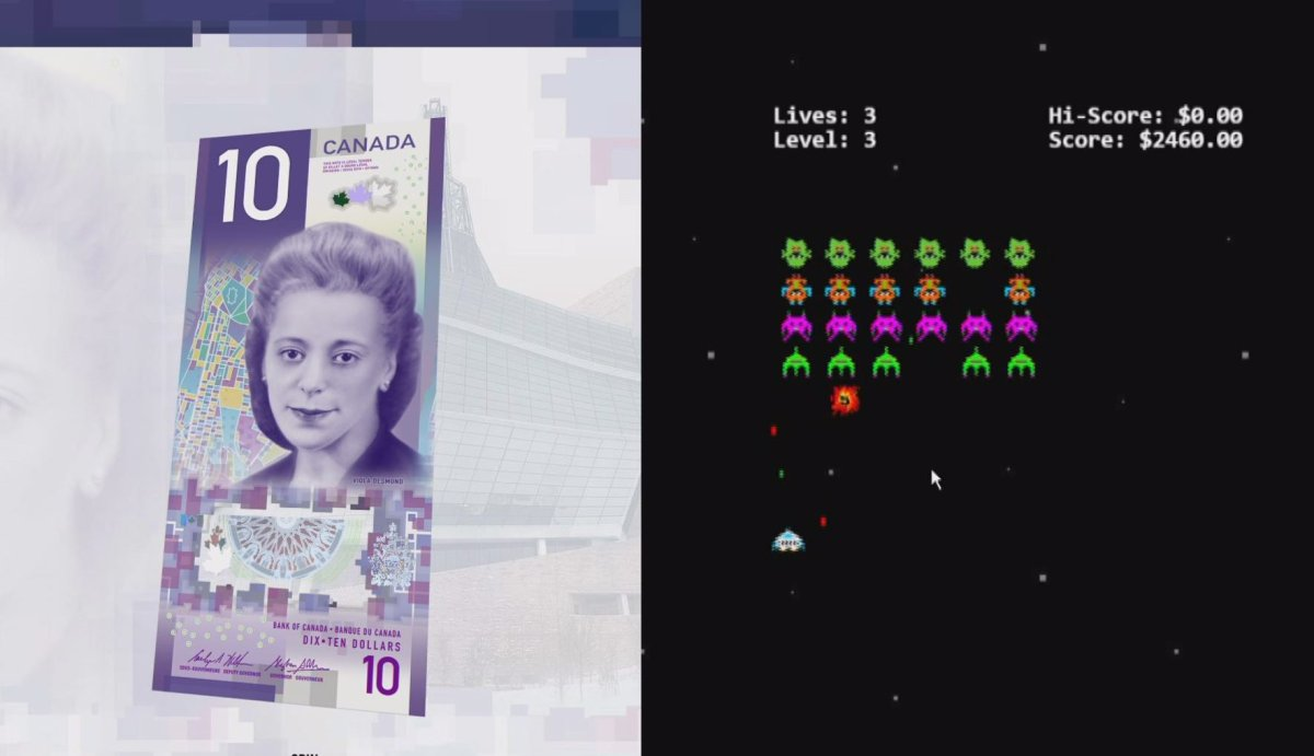 The Bank of Canada has hidden a video game behind its new $10 bill website.