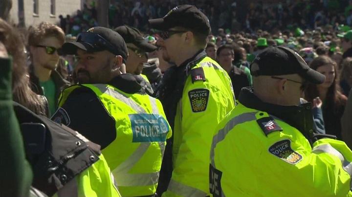 Waterloo Regional Police Service and Peel Regional Police officers attend St. Patrick's Day festivities in Waterloo.