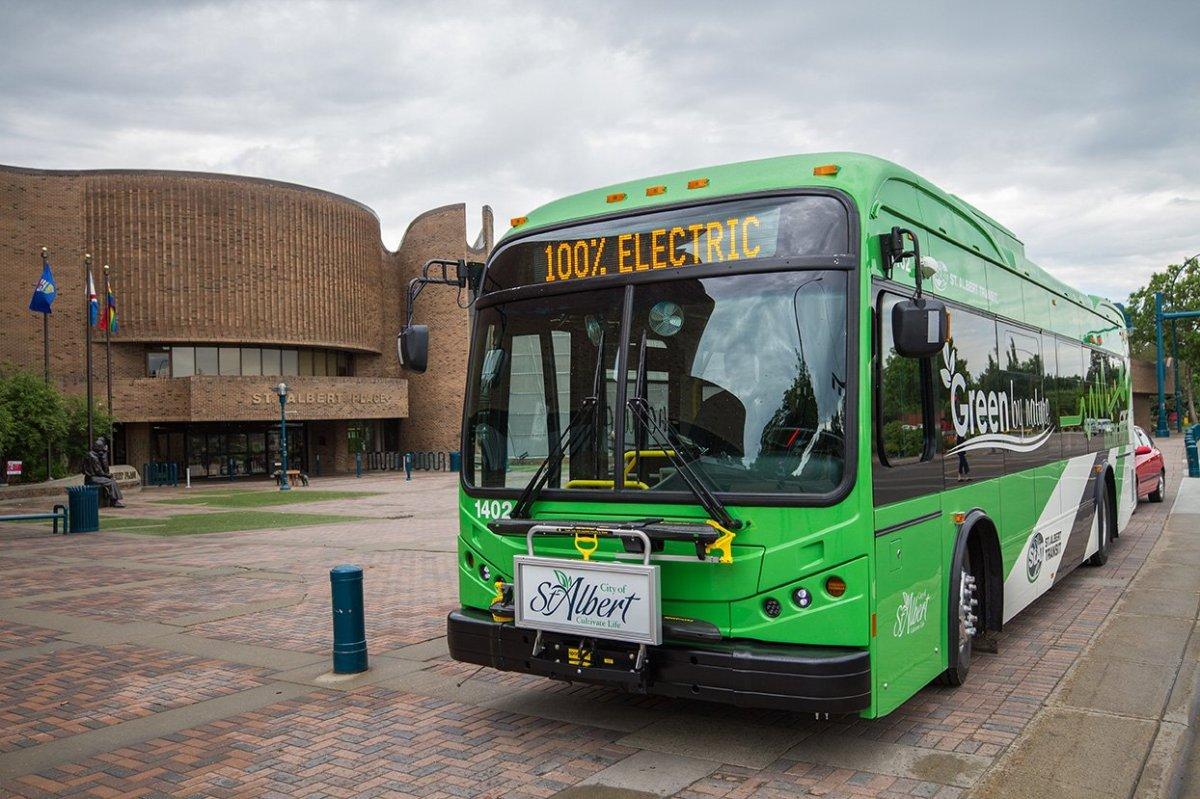 A St. Albert transit bus in St. Albert, Alta.