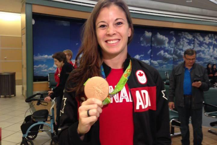 Stephanie Labbé arrives home from the Rio 2016 Summer Games Tuesday, Aug. 23, 2016.