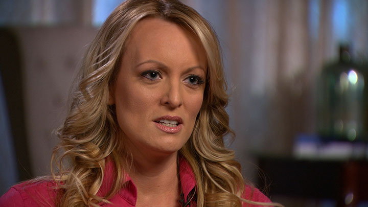 FILE - Stormy Daniels, an adult film star and director whose real name is Stephanie Clifford is interviewed by Anderson Cooper of CBS News' 60 Minutes program in early March 2018, in a still image from video provided March 25, 2018.