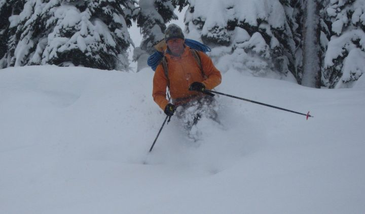 Jeff Bullock, a certified guide who's also the mountain programs manager at the University of Calgary Outdoor Centre, skis through the trees in Rogers Pass, B.C., in an undated handout photo.