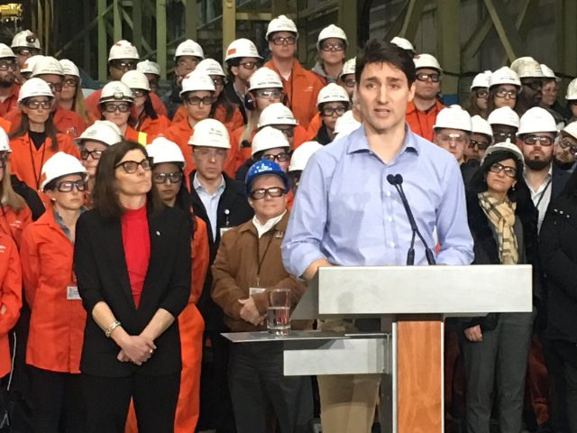 Prime Minister Justin Trudeau speaks to reporters following a tour of ArcelorMittal Dofasco's Hamilton plant.