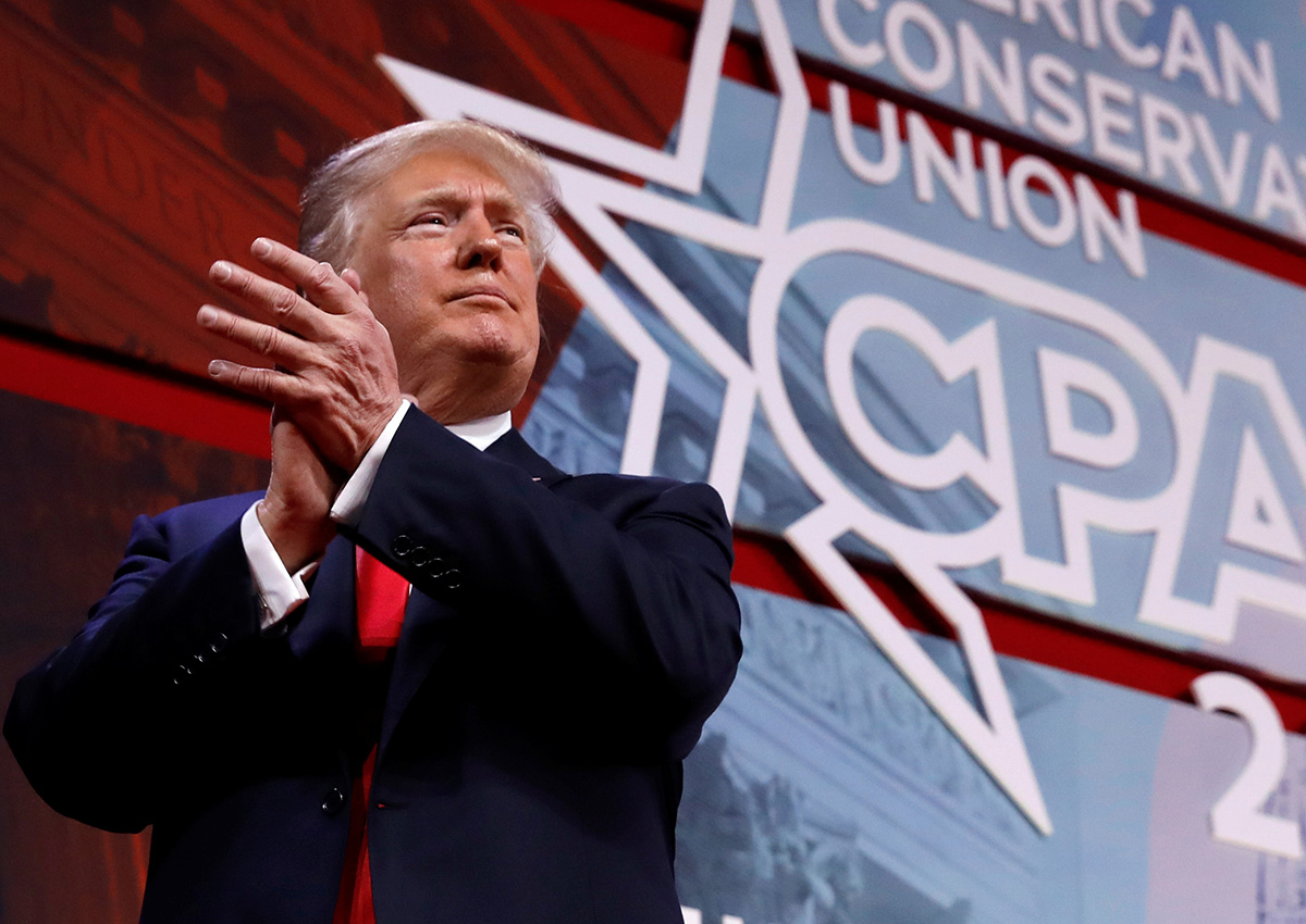 Donald Trump smiles at the conclusion of his speech at the Conservative Political Action Conference (CPAC) at National Harbor, Maryland,  U.S., February 23, 2018.