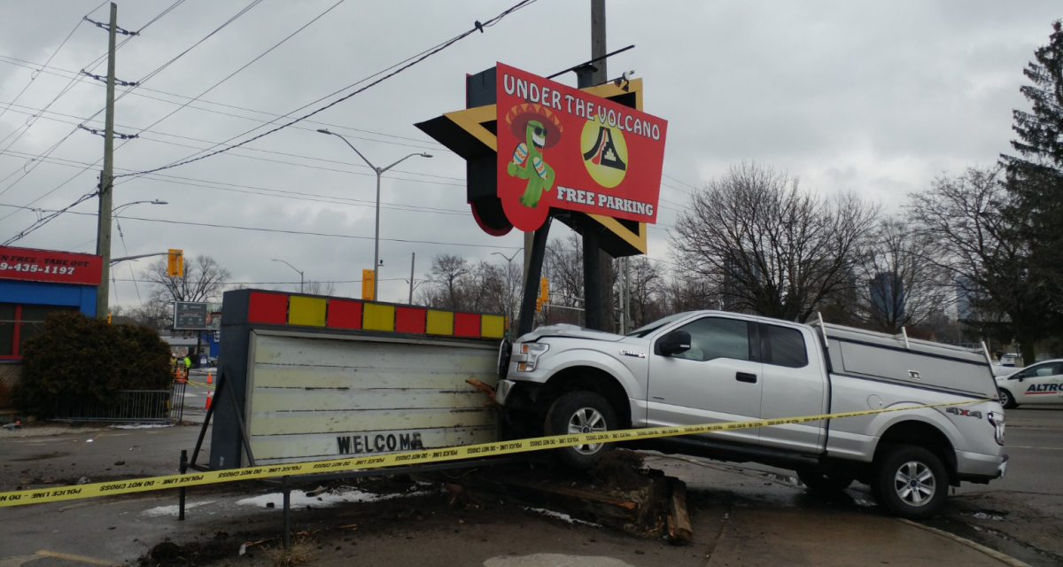 London police say they're investigating after a stolen pickup truck crashed into the restaurant's sign on the corner of Wharncliffe and Riverside at around 11:30 a.m.
