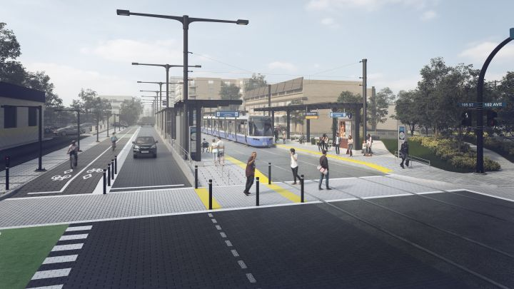 An artist's rendering of the future 106 Street stop of the Valley Line LRT in Edmonton.
