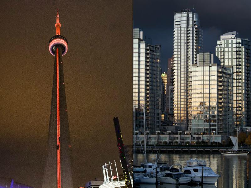 Left, Toronto's CN Tower. Right, condo buildings along Vancouver's False Creek.