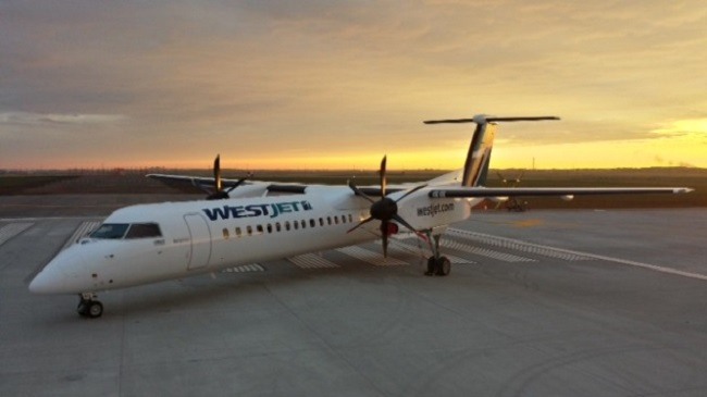 A Westjet Q400 NextGen airliner, similar to the one that was forced to land in Nanaimo.