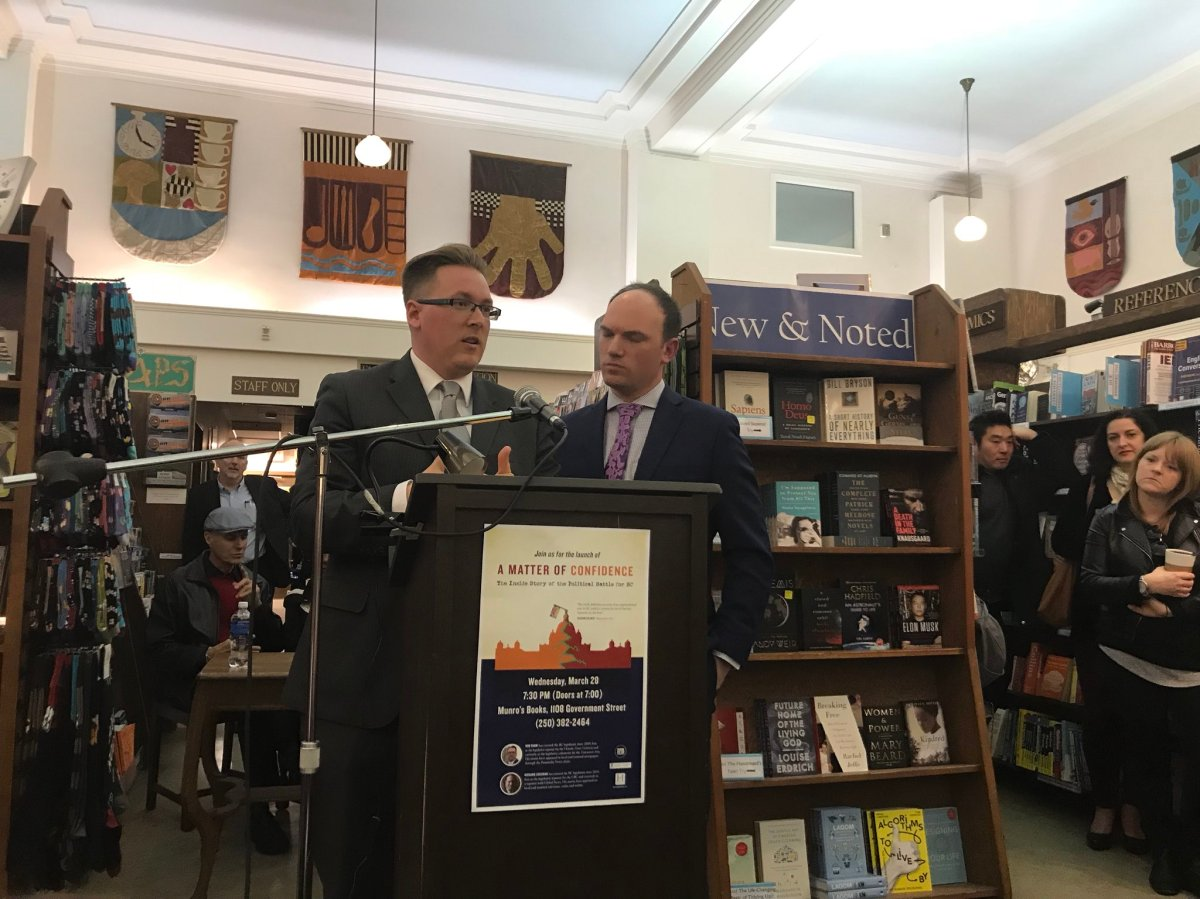 """Rob Shaw and Richard Zussman at the book launch for """"A Matter of Confidence: the Inside Story of the Political Battle for B.C.""""."""
