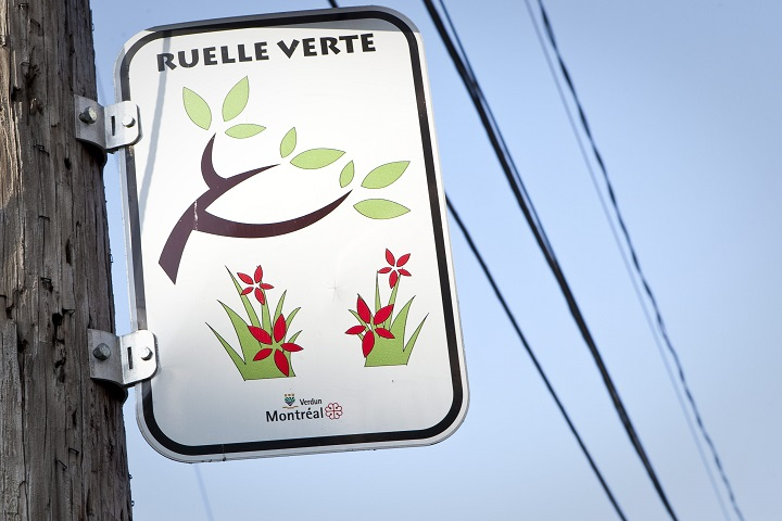 A Ruelle verte sign is pictured in Montreal Friday October 26, 2012. Ruelle verte (Green back alley) is the renaturalization of Montreal back alleys to improve the quality of live of citizens.