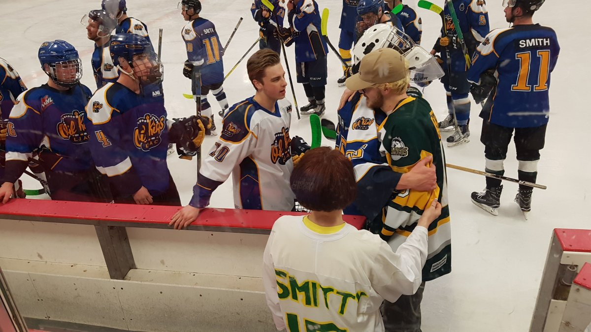 Humboldt Bronco player Tyler Smith attended the hockey game in Leduc and greeted every player.