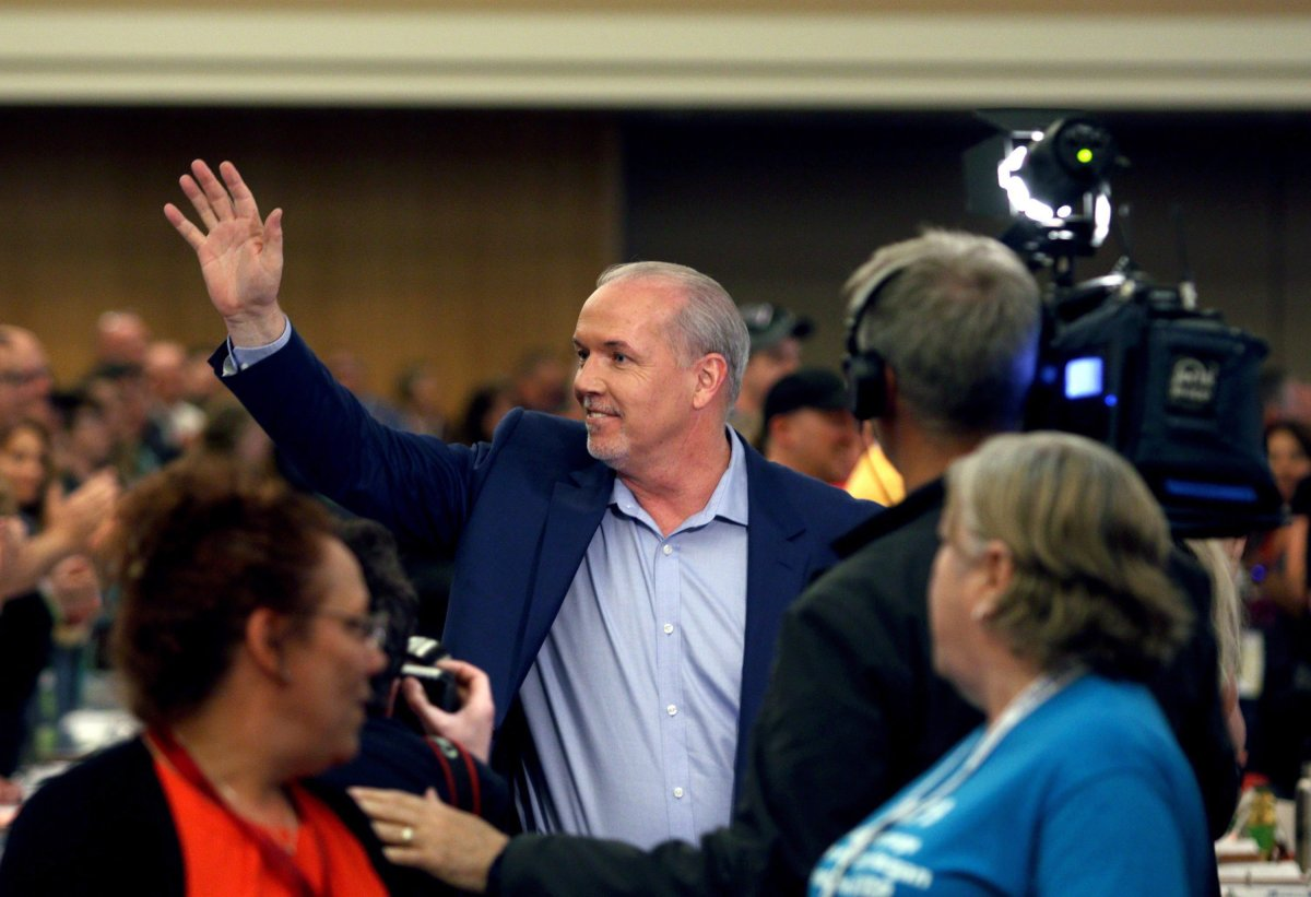 BC NDP leader John Horgan arrives to speak to CUPE members and delegates during a campaign stop at the Victoria Convention Centre in Victoria, B.C., on Friday, April 28, 2017.