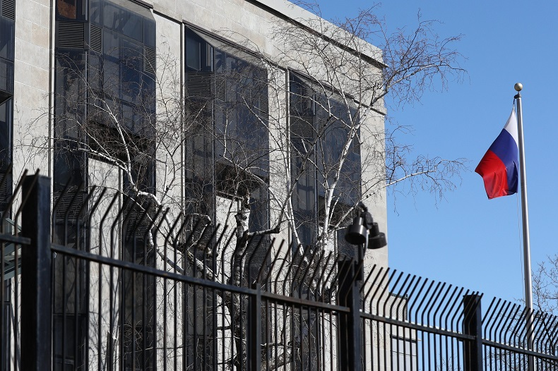 The Russian embassy in Ottawa, Ontario on Monday, March 26, 2018.