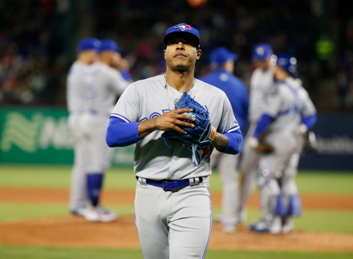 Toronto Blue Jays starting pitcher Marcus Stroman (6) is pulled from the baseball game against the Texas Rangers during the fifth inning Saturday, April 7, 2018, in Arlington, Texas.