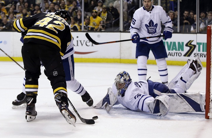 Toronto Maple Leafs goaltender Frederik Andersen (31) sprawls, but cannot stop a goal by Boston Bruins right wing David Backes (42) during the second period of Game 1 of an NHL hockey first-round playoff series on Thursday in Boston.