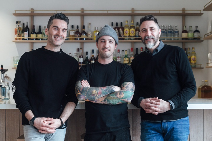 Soon-to-be-opened Mexican vegan restaurant Rosalinda co-owners Jamie Cook (left) and Max Rimaldi (right) and restaurateur Grant van Gameren are shown in test kitchen in a recent photo.