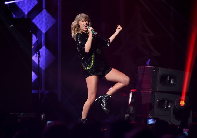 In this December 2017 file photo, singer Taylor Swift performs at Z100's iHeartRadio Jingle Ball at Madison Square Garden on  in New York.