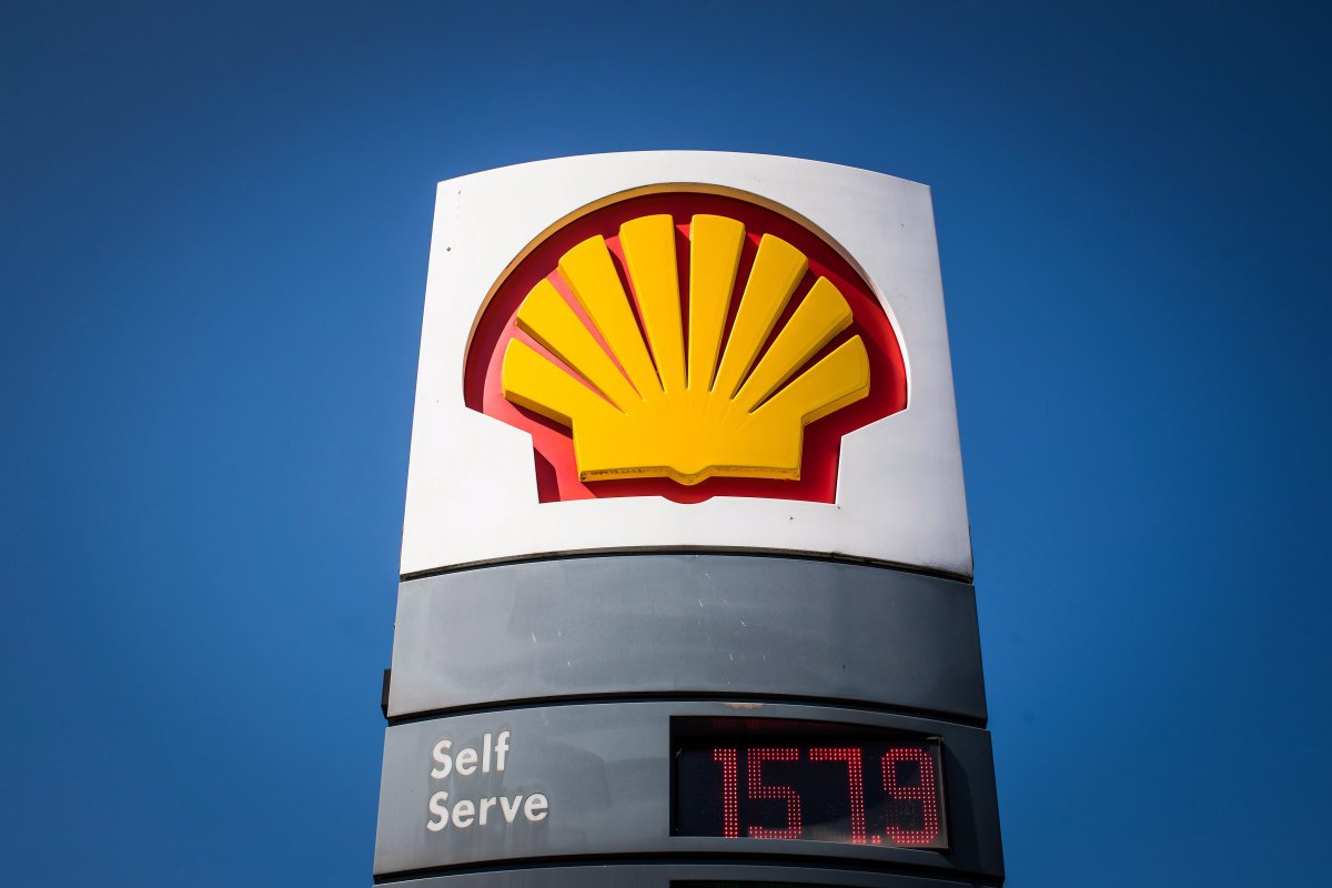 The price of a litre of gasoline of $1.579, an all-time high for the city, is displayed on a sign at a Shell gas station in Vancouver, B.C., on Sunday April 22, 2018.