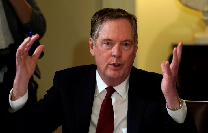 U.S. Trade Representative Robert Lighthizer speaks during a meeting hosted by U.S. President Donald Trump with governors and members of Congress at the White House in Washington, U.S., April 12, 2018.