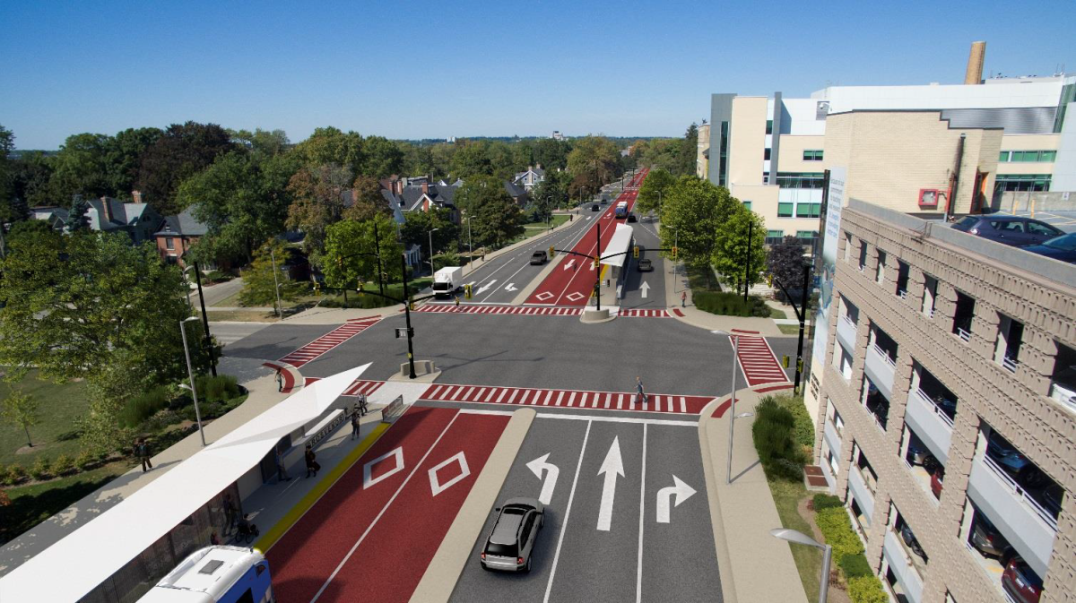 A rendering of the bus rapid transit system on Richmond Street at Grosvenor Street. The rendering may not be final.