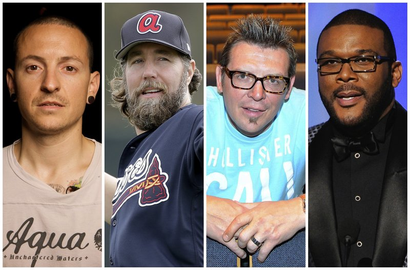 This combination of 2008-2017 photos shows Linkin Park co-lead vocalist Chester Bennington, Atlanta Braves pitcher R.A. Dickey, former NHL star Theo Fleury and film director Tyler Perry. They are among the male celebrities who have disclosed they were victims of sexual abuse.