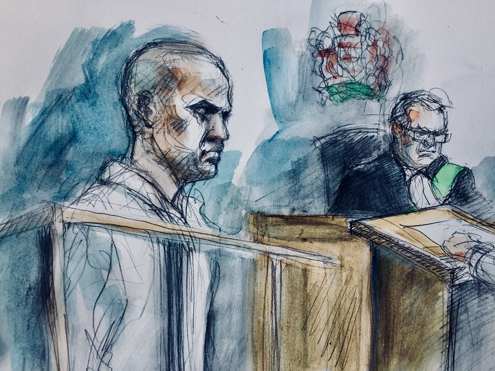 Alek Minassian, (left), and Justice of the Peace Stephen Waisberg, in a Toronto court on April 24, 2018.